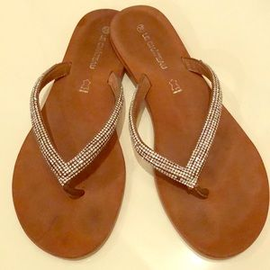 Leather Flip Flops with Rhinestones • size 38